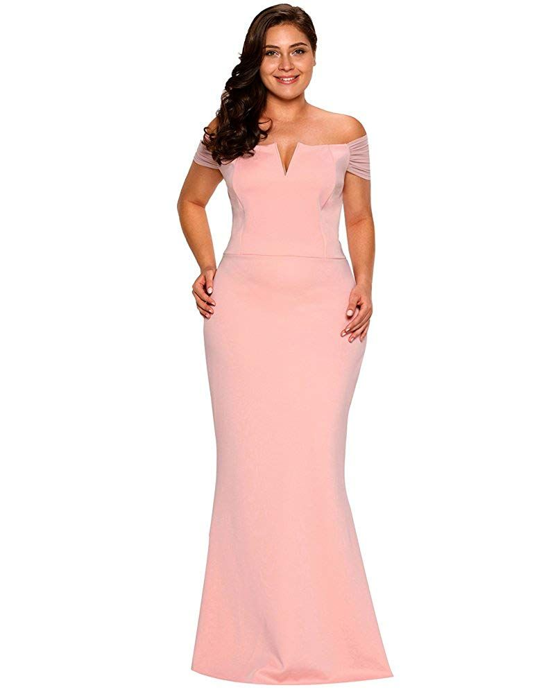 964c7088ab8d4 Lalagen Womens Plus Size Off Shoulder Long Formal Party Dress Evening Gown  Size XL (Pink) Clothing, Amazon Affiliate link. Click image for detail, ...