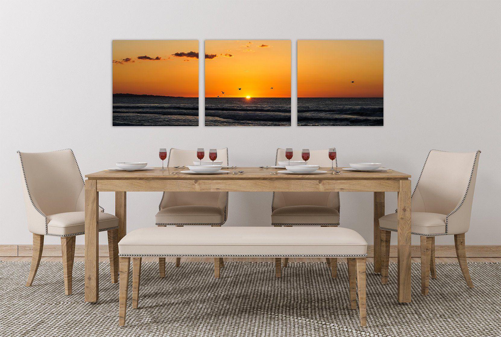 Ocean Sunset Photo 3 Panel Triptych Prints Or Canvas Beach