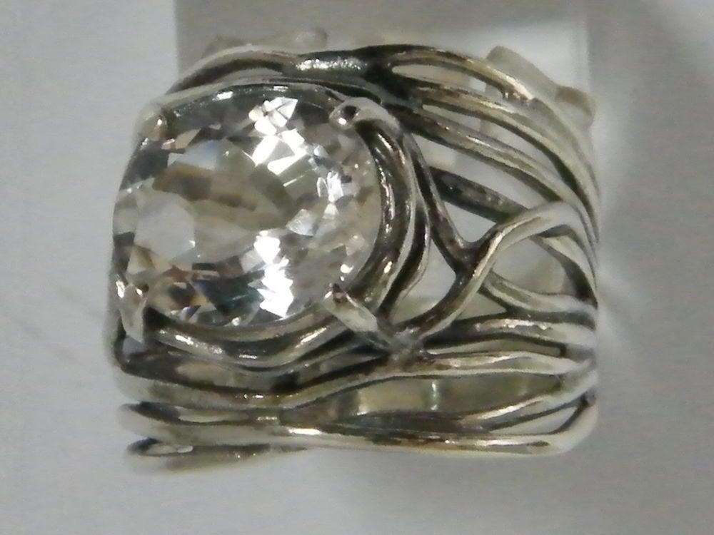Women SHABLOOL 925 Sterling Silver White lab-created White CZ Band Ring