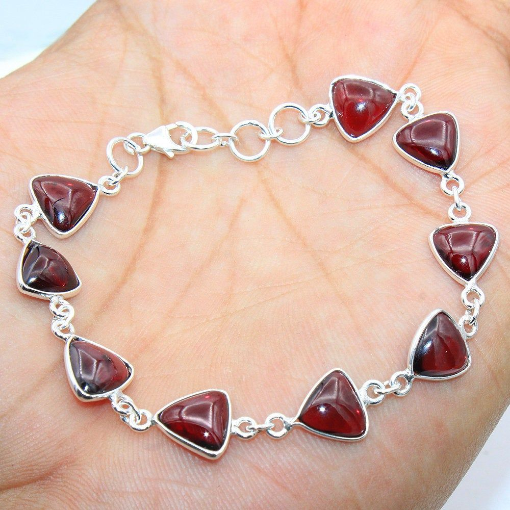 "Statement Bracelet-Mozambique Red Garnet Gemstone 925 Sterling Silver Jewelry 8/"""