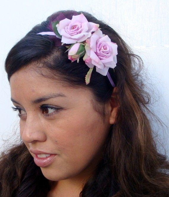 SALE Lilac Whimsy Flower Headband by blacksatinshoes on Etsy, $13.00