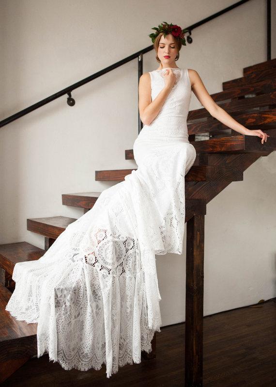 Low Back Bohemian Wedding Dress, Open Back Wedding Dress, Vintage ...