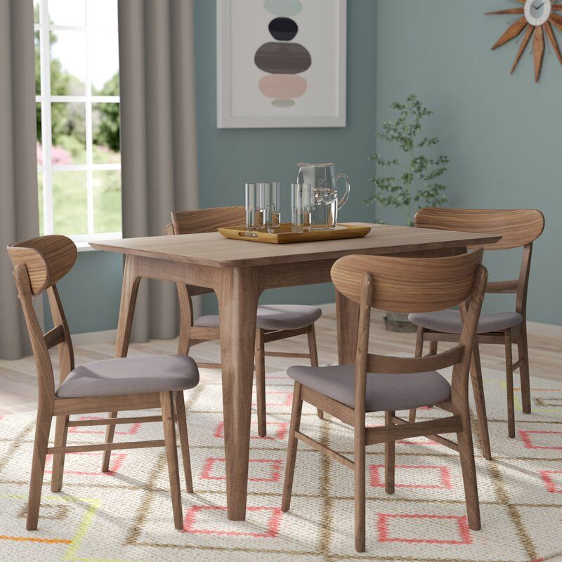 Yolanda 5 Piece Solid Wood Dining Set Di 2020 Kursi Set Meja