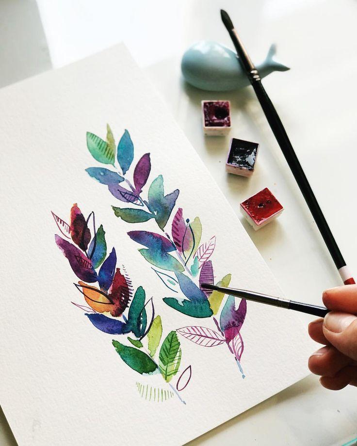 Einfach Farbmischung Erforschen Aquarell Aquarell Malen