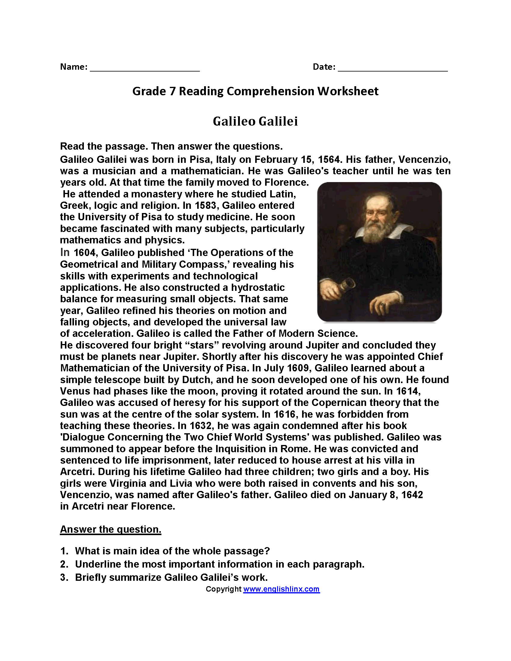 Galileo Galili Seventh Grade Reading Worksheets