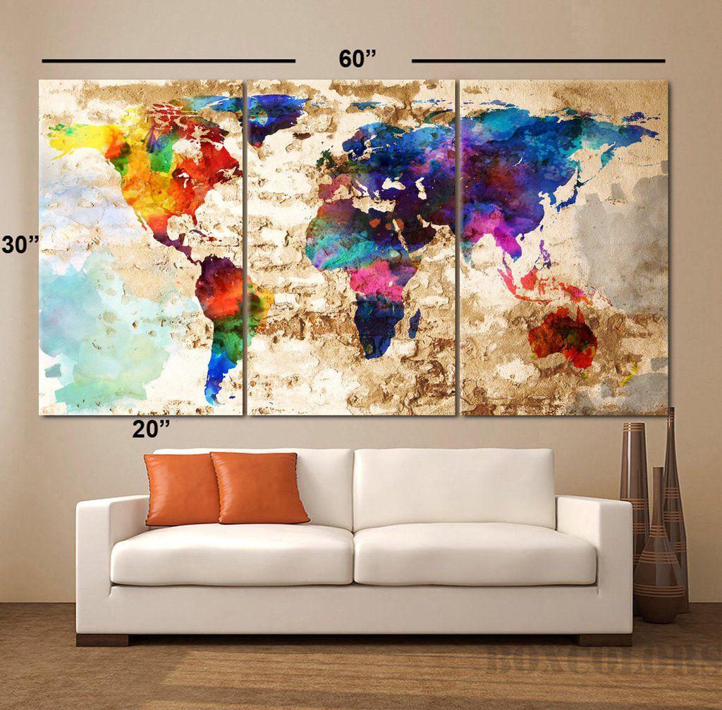 Large 30 X60 3panels Art Canvas Print Watercolor Texture Map Decor Map Wall Art Canvas Art Prints Panel Art