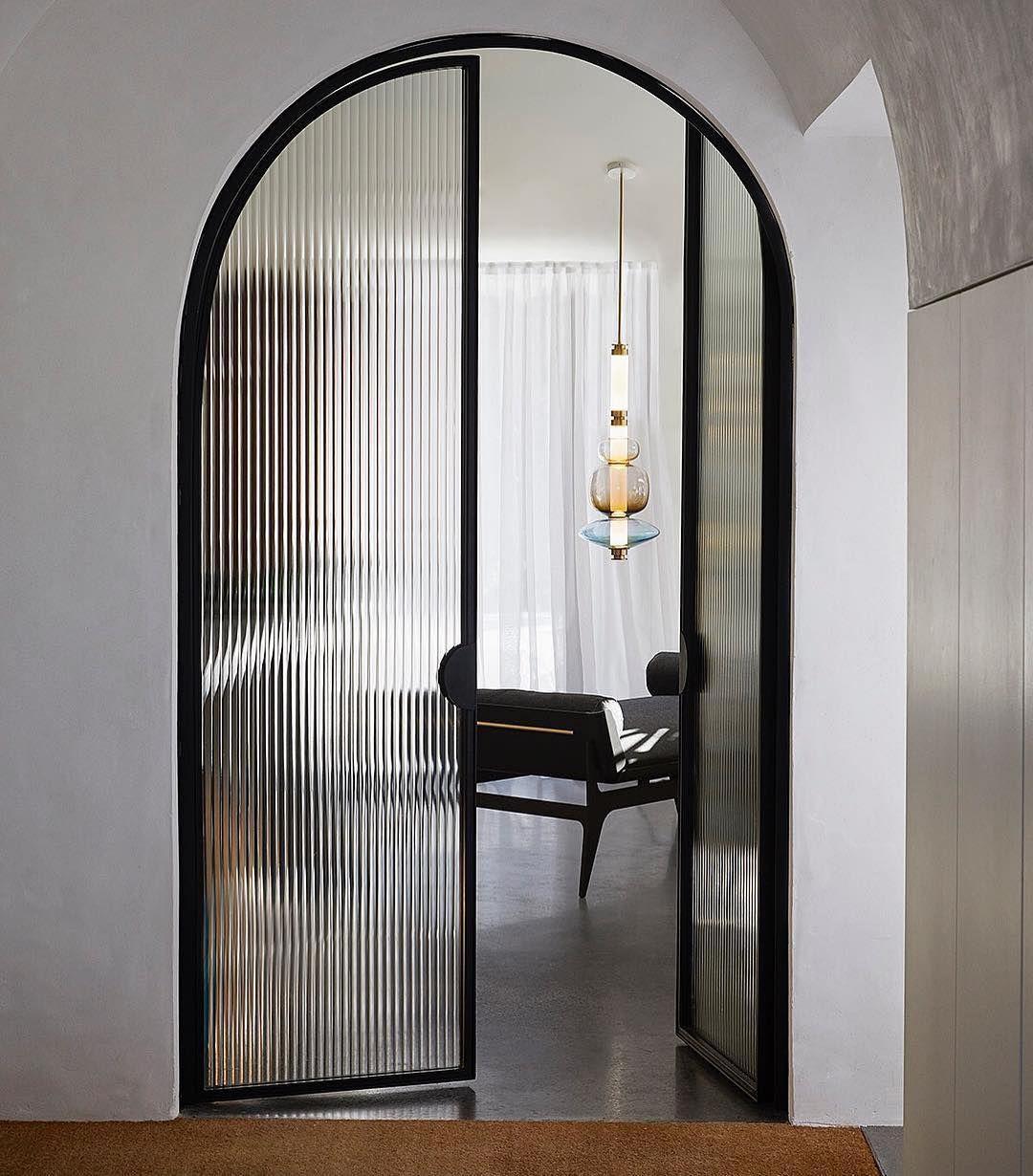 Sarah Dippold Design On Instagram New Favorite Gabrielscott Gorgeous Light Fixture Daybed Photographed Th In 2020 Glass Doors Interior Arched Doors Door Design