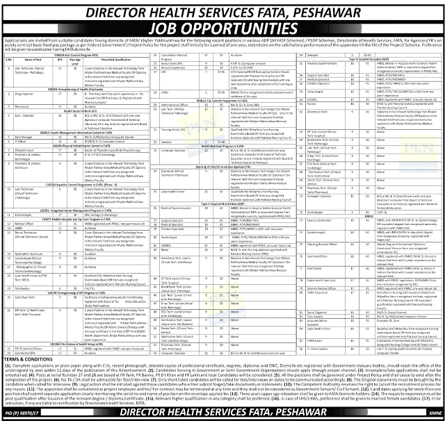 Nurses and others Government Jobs 2017 at Directorate of