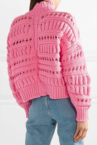 Zoe Oversized Open-knit Cotton-blend Turtleneck Sweater - Pink Isabel Marant Discount Sale Buy Cheap Pre Order gO7syAhj