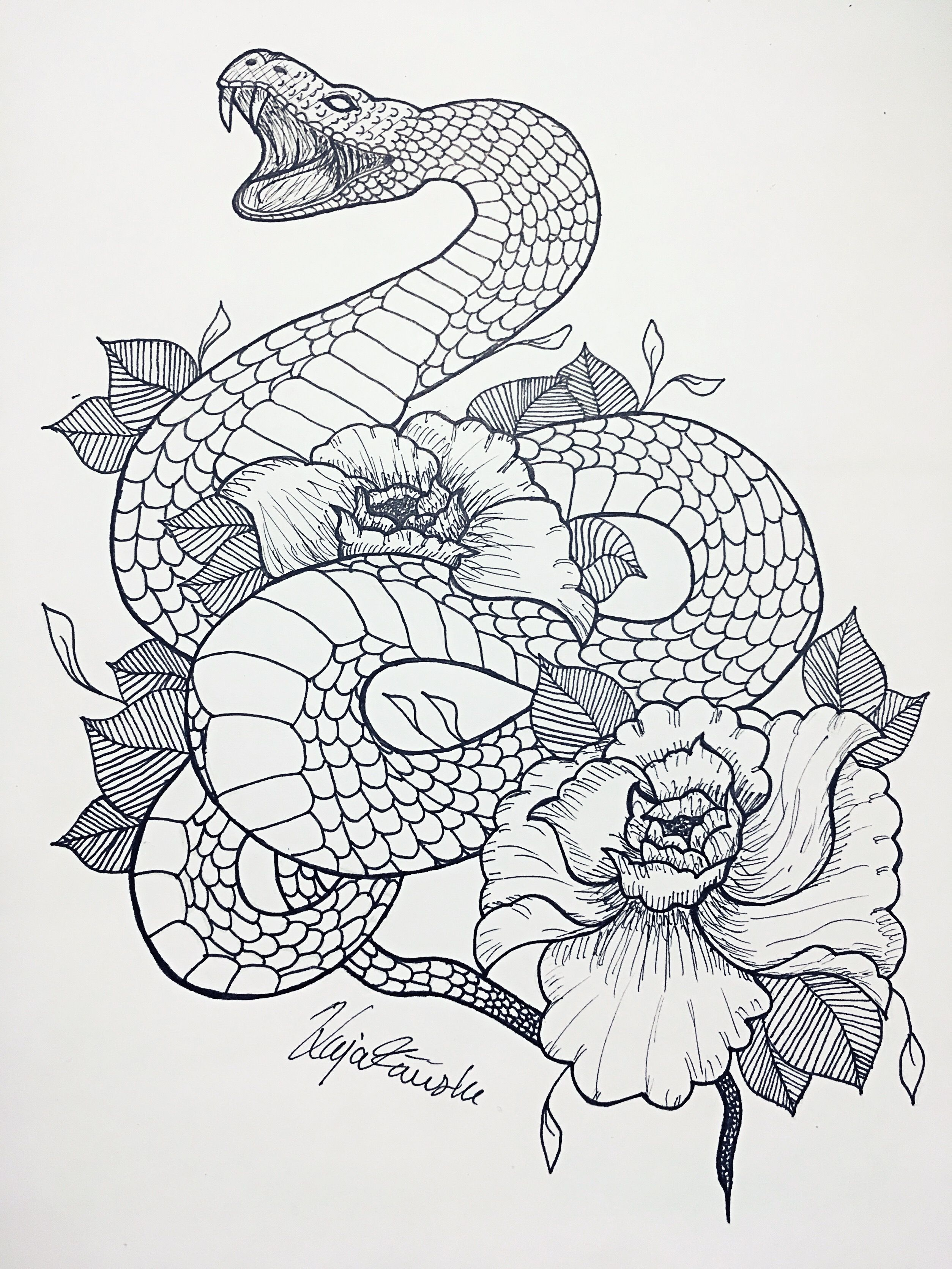Fineline, snake and flowers