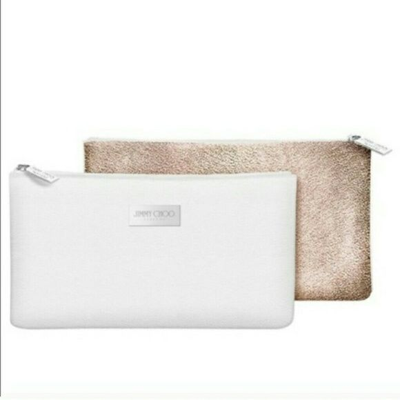 2bfd8991fa Jimmy Choo makeup bag Jimmy Choo perfume make up bag. Front side white,  back side gold glitter New. Never used. Jimmy Choo Bags Cosmetic Bags &  Cases