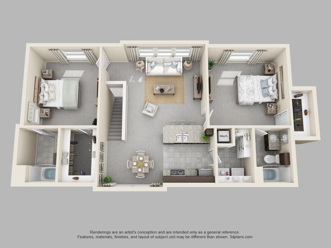 The Pointe at Cabot 2 Bedroom 2 Bath Maple loft floor plan The