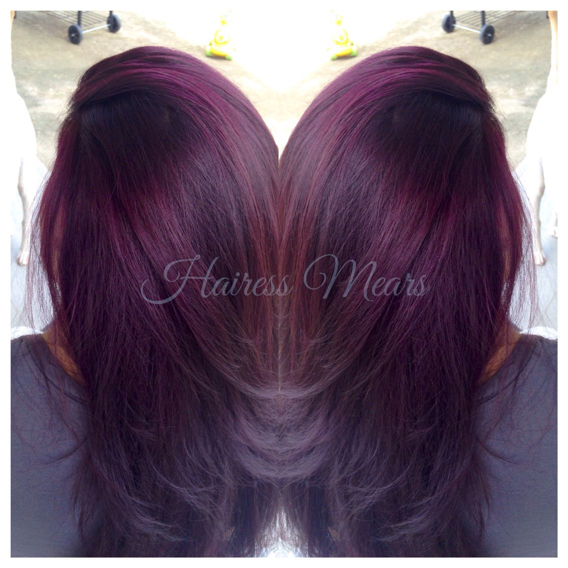 Black Raspberry Sangria Lightened To Level 9 Dark Red Violet With Red Highlights And Color Melt