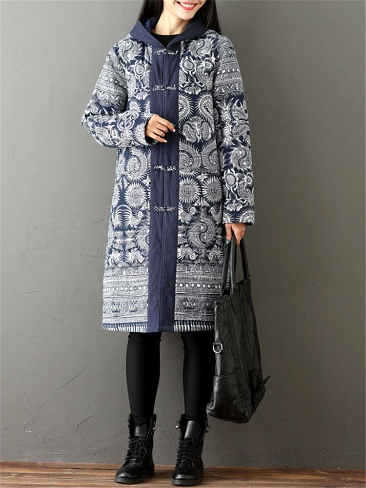 Vintage Printed Long Sleeve Women Hooded Thick Coats (mit ...