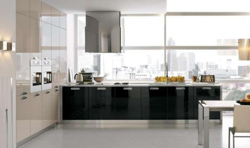 e soggiorno open space - Cucina laccata stile moderno