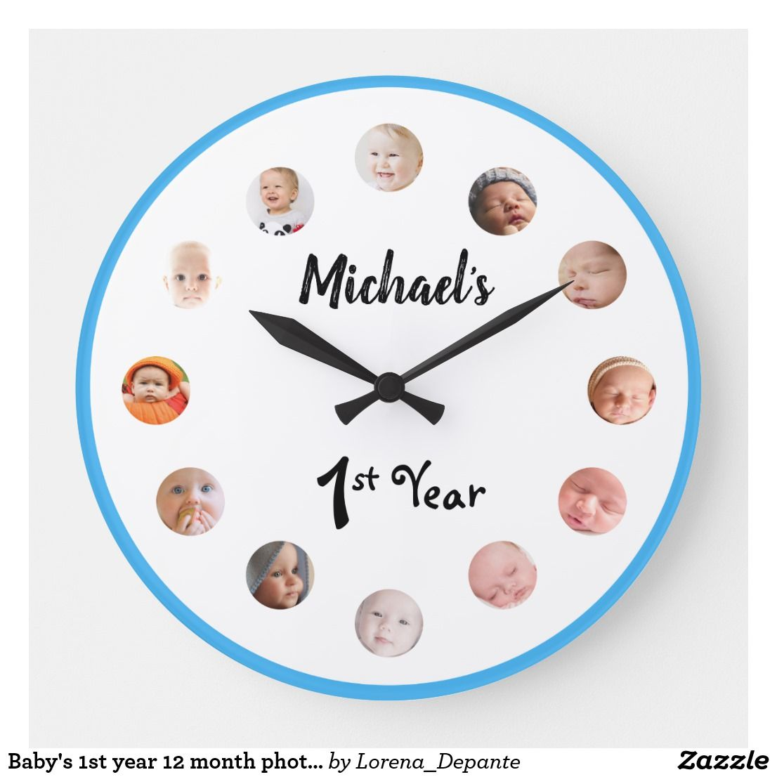 Baby S 1st Year 12 Month Photos Birthday Large Clock 1st Year Clock With For Baby S First 12 Mon Birthday Gifts For Girls 1 Year Birthday Baby Month By Month