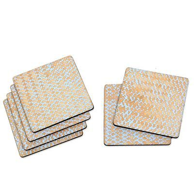 Wood coasters, 'Bamboo Weave in Light Blue' (set of 6) - Hand Crafted Wood and Bamboo Fiber Coasters (Set of 6)