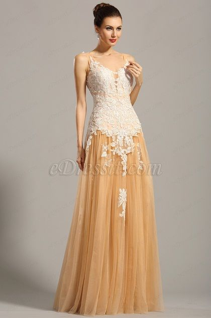 USD 79.99] Sleeveless Beige Lace Applique Formal Dress Prom Gown ...