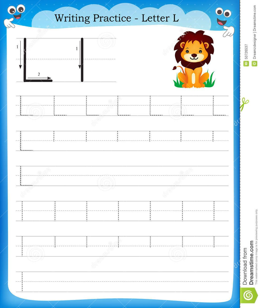 Illustration About Writing Practice Letter L Printable