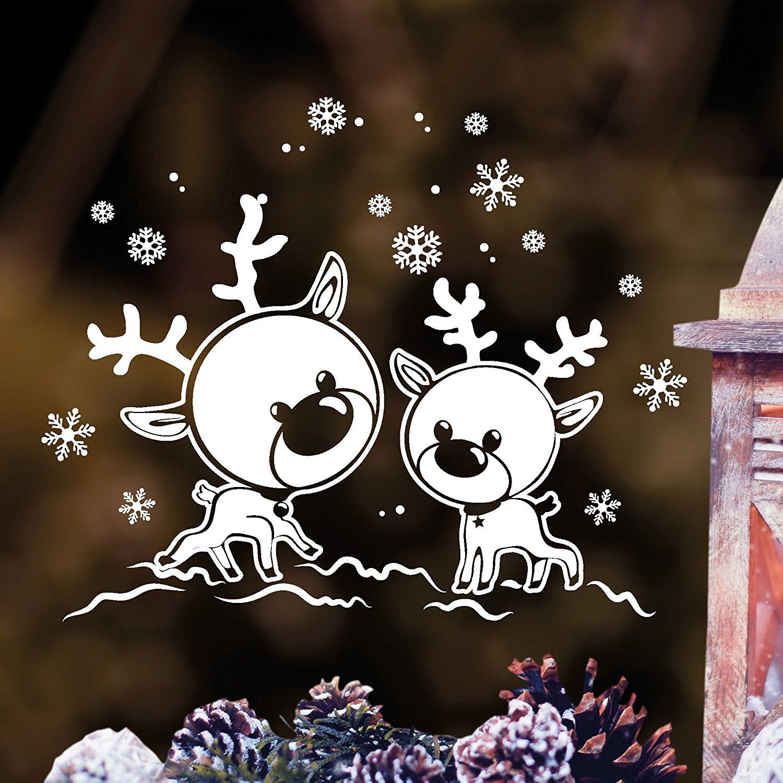 """wandtattoo loft fensterbild """"elche rentiere im schnee"""