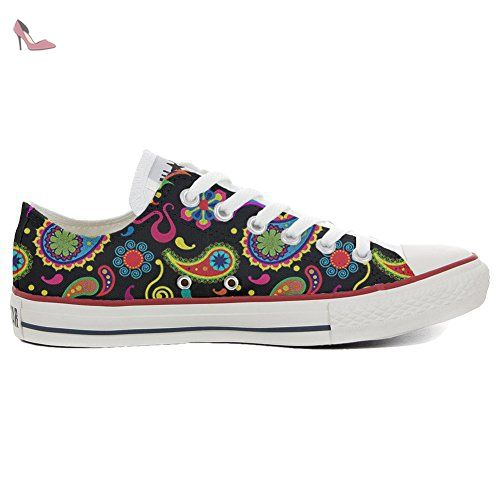 Make Your Shoes Converse Customized Adulte - chaussures coutume (produit artisanal) Fluo Pasley size 32 EU bBx9yG