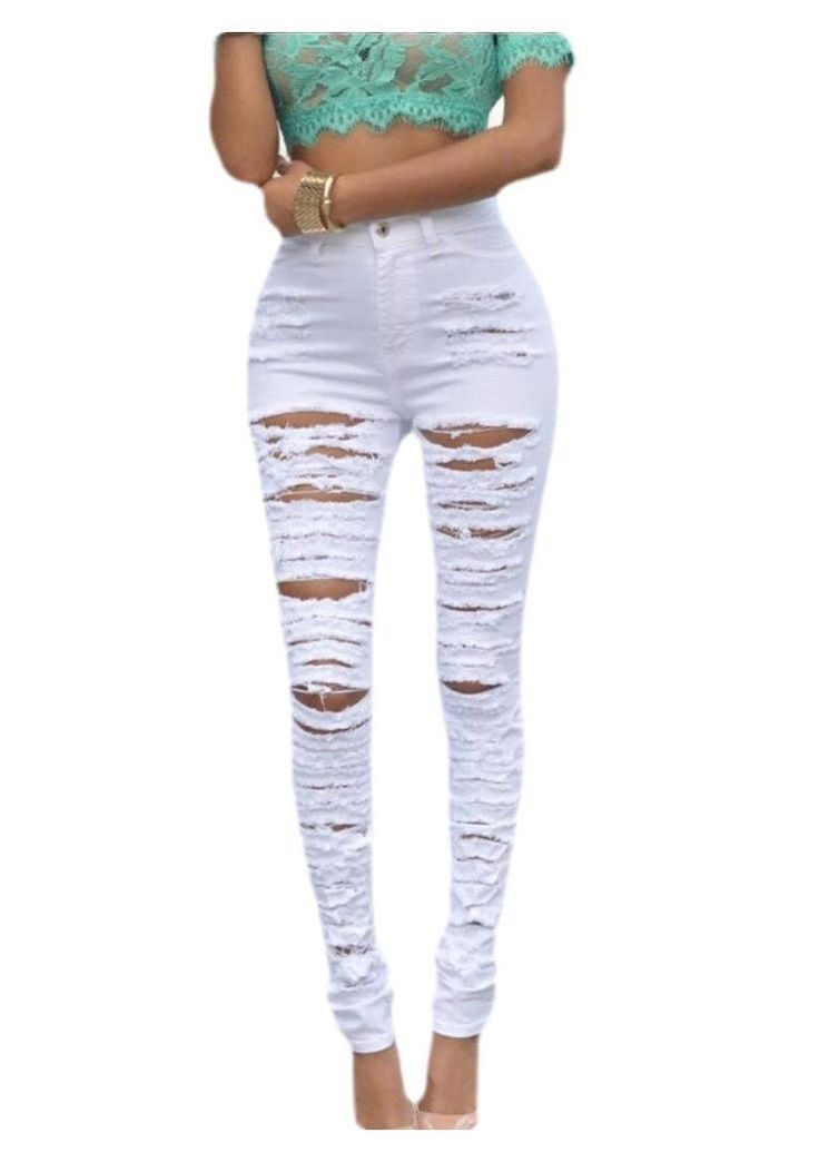 Photo of Kankanluck Women's High Waist Ripped Hole Stretch Pencil Skinny Denim Jeans #Aff…