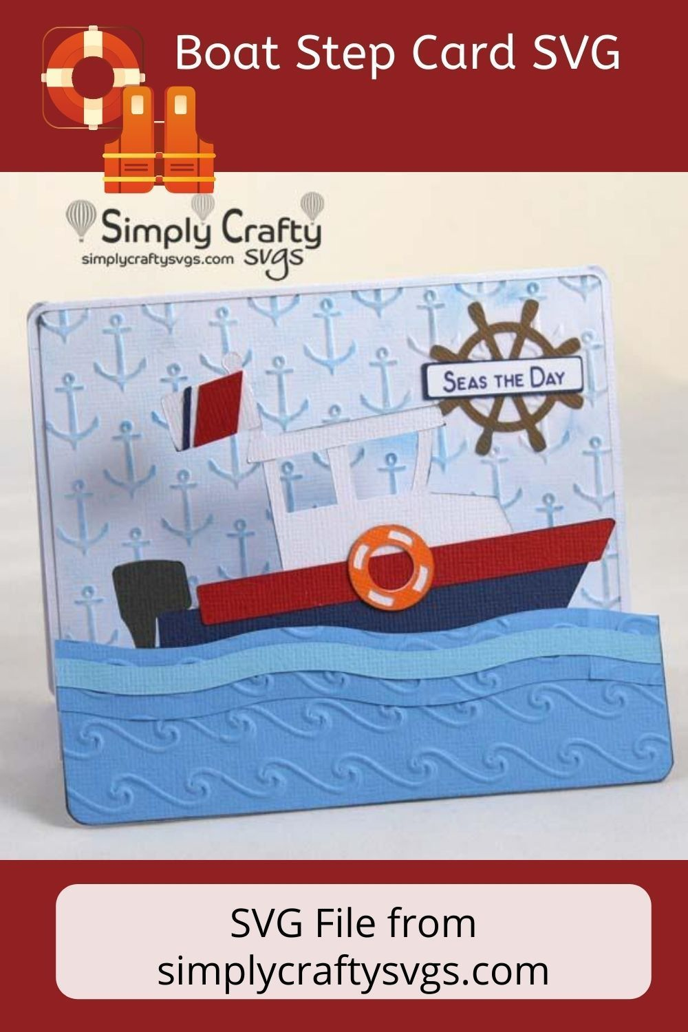 Boat step card svg file simply crafty svgs in 2020