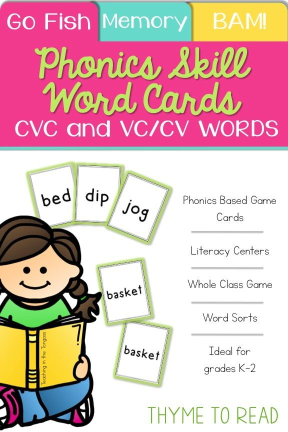 Short Vowel and VC\/CV Words Cards Short vowels, Syllable and - cv words