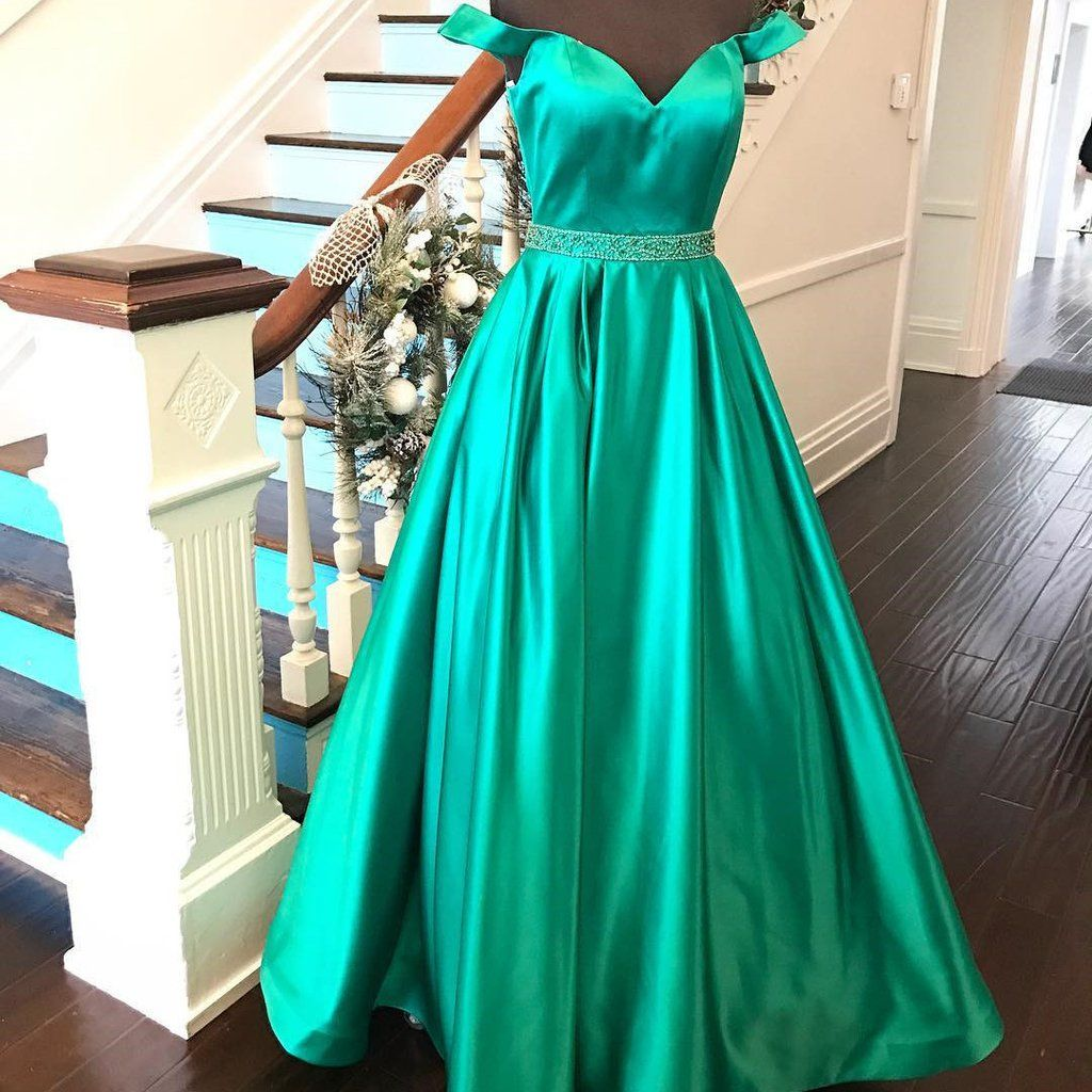 Green satin ball gowns prom dresses off the shoulder elegant