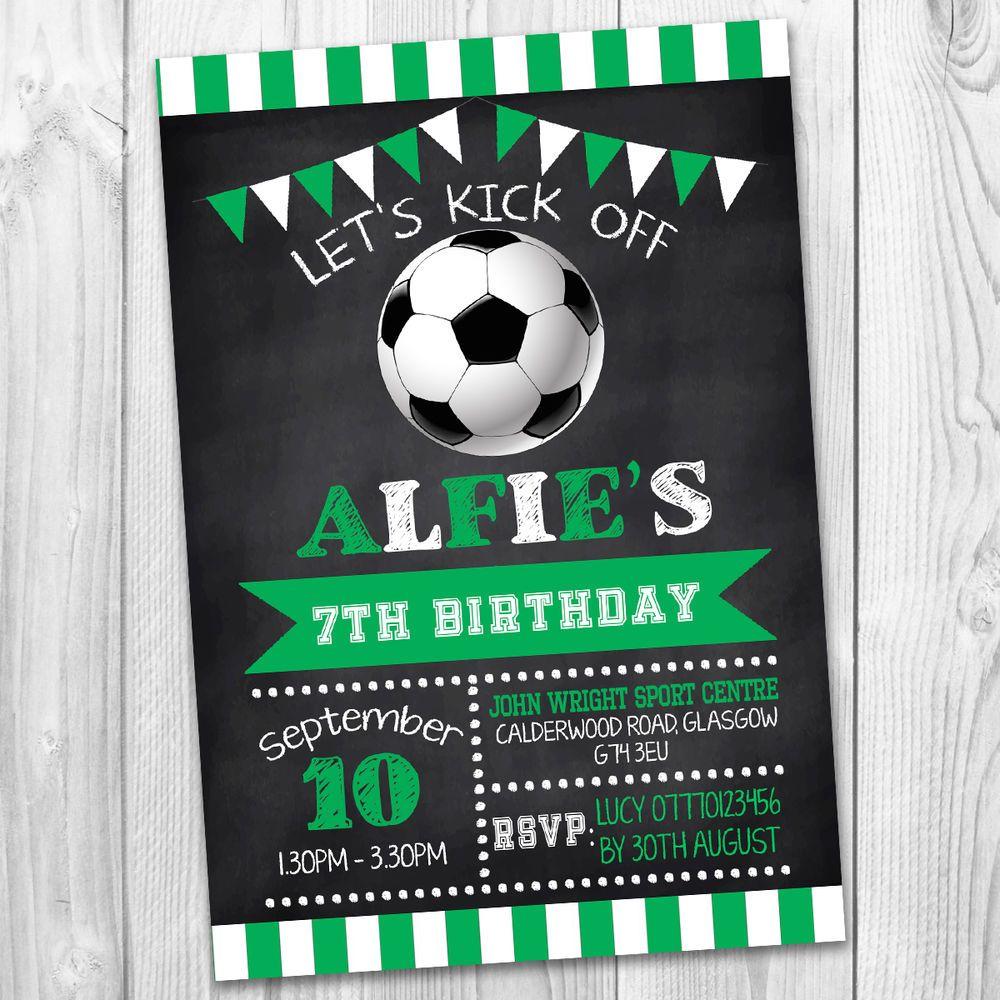 BOYS GIRLS FOOTBALL SPORT PERSONALISED PARTY INVITATIONS KIDS ...