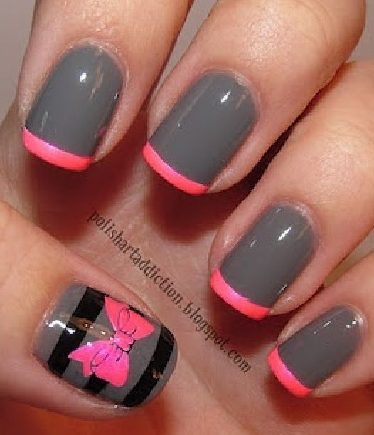 Gray and pink French nails