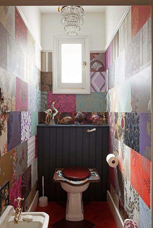 ☮ American Hippie Bohéme Boho Lifestyle ☮ Tiny Bathroom .. Large Tiles