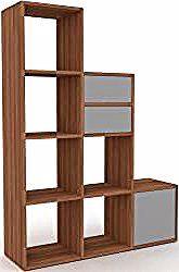 Bookcase walnut – modern shelf for books: drawers …