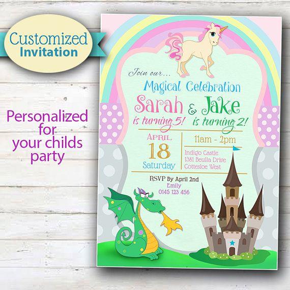 Unicorn Magical Fairy tale Birthday Invitations Pack of 16