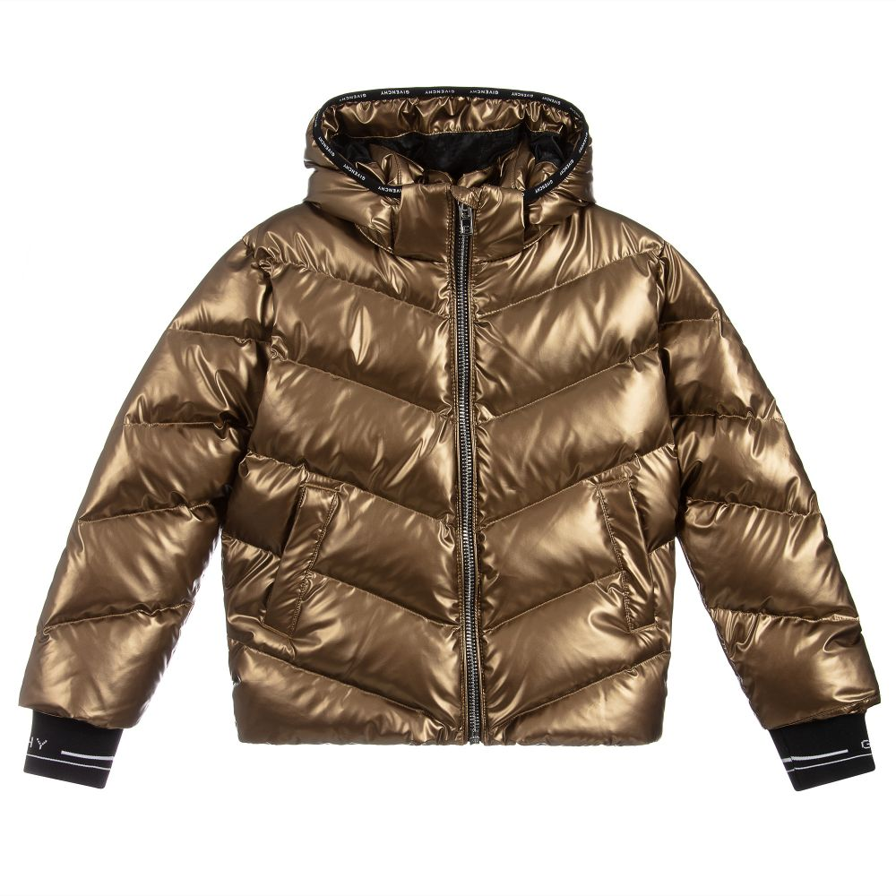 Girls Gold Down Padded Puffer Jacket From Luxury Designer Givenchy It Has Black And White Ribbed Logo Trim With A Detachab Padded Coat Puffer Jackets Jackets [ 1000 x 1000 Pixel ]