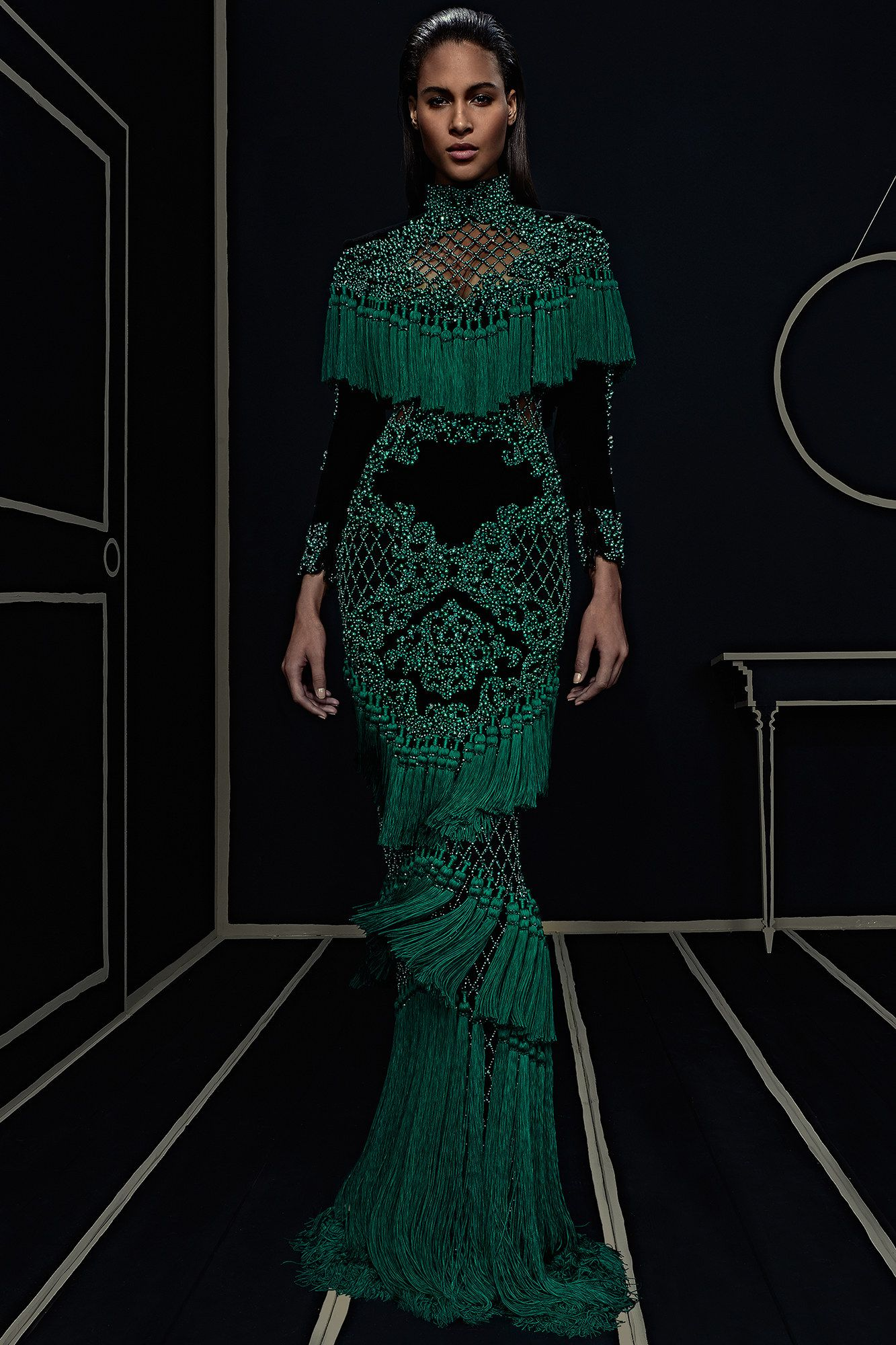 Ready To Wear Collection Via Designer Olivier Rousteing Gorgeous Gown Modeled By Cindy Bruna January 25 2016 New York