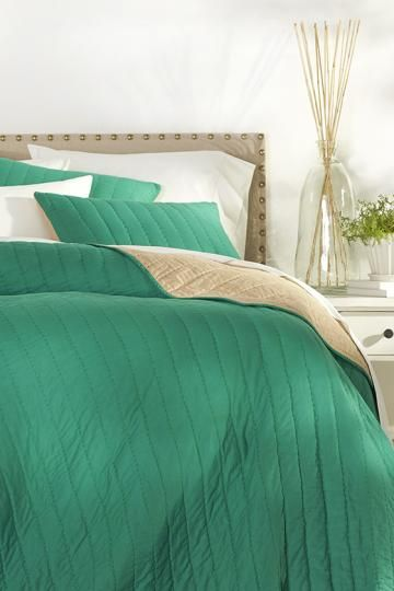 Gorgeous-in-green bedding. HomeDecorators.com #reviveyourhome