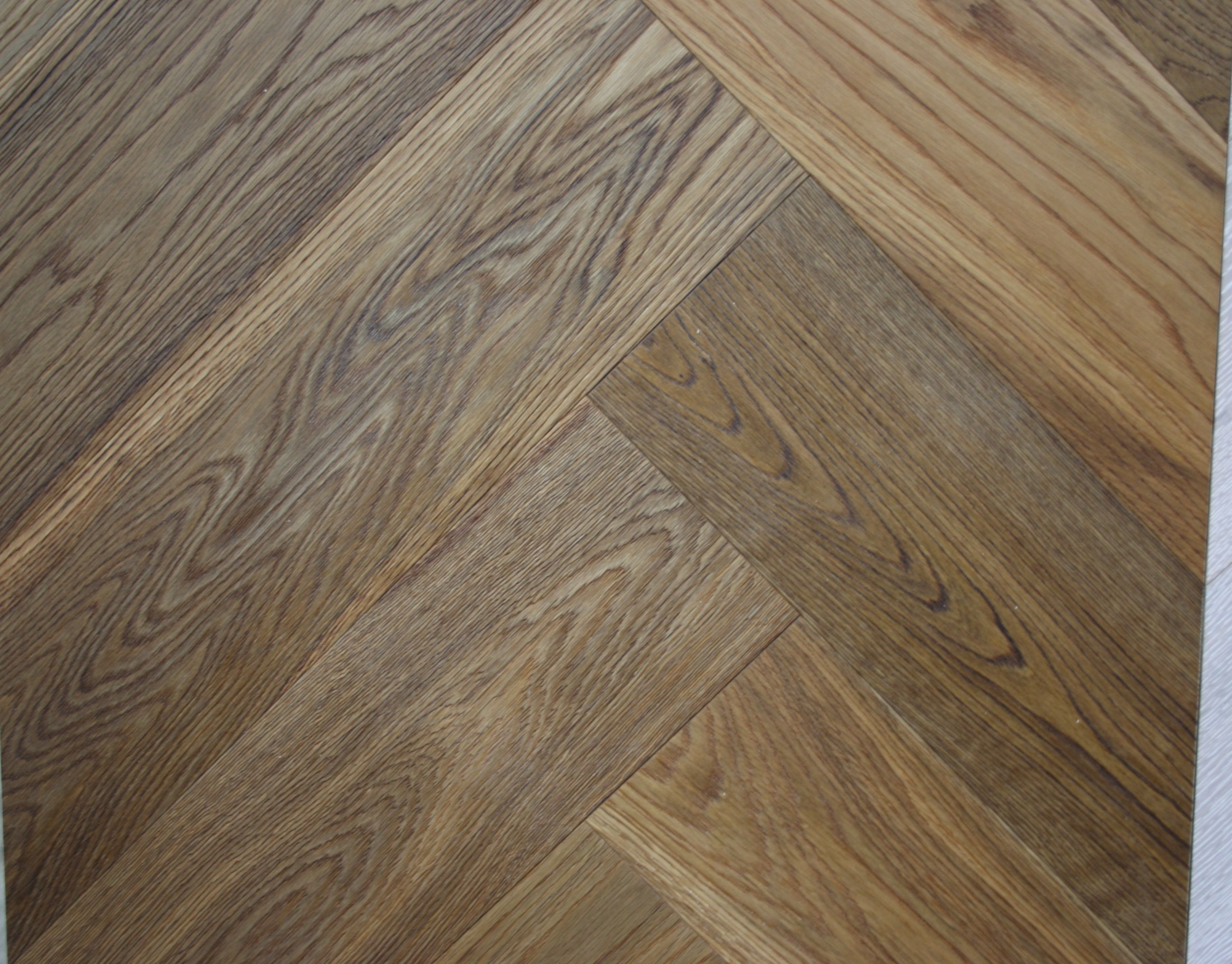 Smoked brushed and sealed Engineered oak herringbone