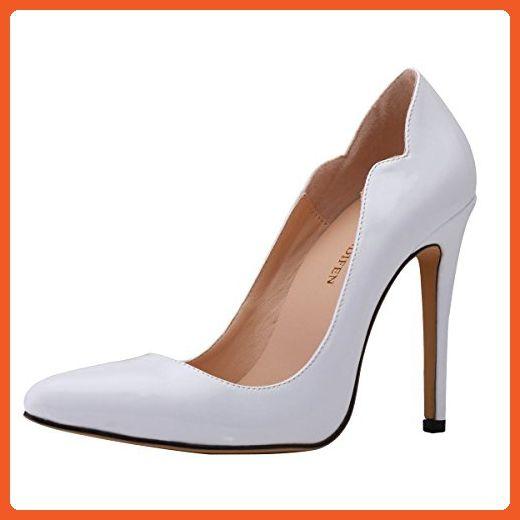 13c40df15cc Loslandifen Womens Shoes Closed Toe High Heels Women s Pointed Slender  Leather Pumps (302-31PA35