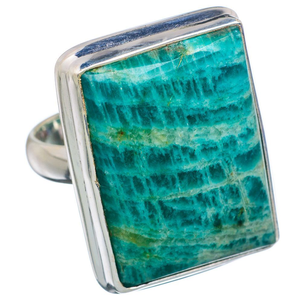 Large Amazonite 925 Sterling Silver Ring Size 8.25 RING658764