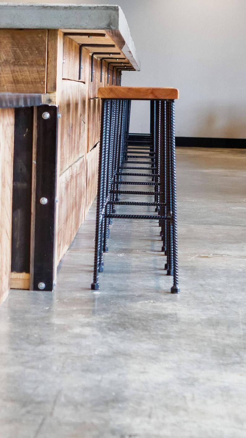 Bar Height Industrial Rebar Reclaimed Wood Bar Stool In 2019