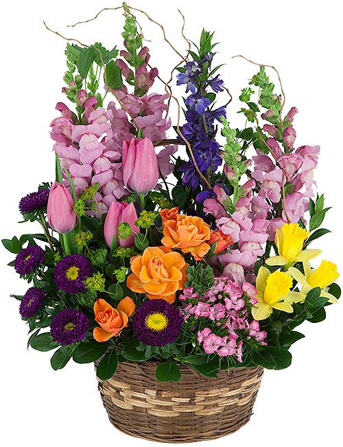 Spring garden an uplifting spring flower arrangement in a natural spring garden basket spring flowers canada flowers mightylinksfo