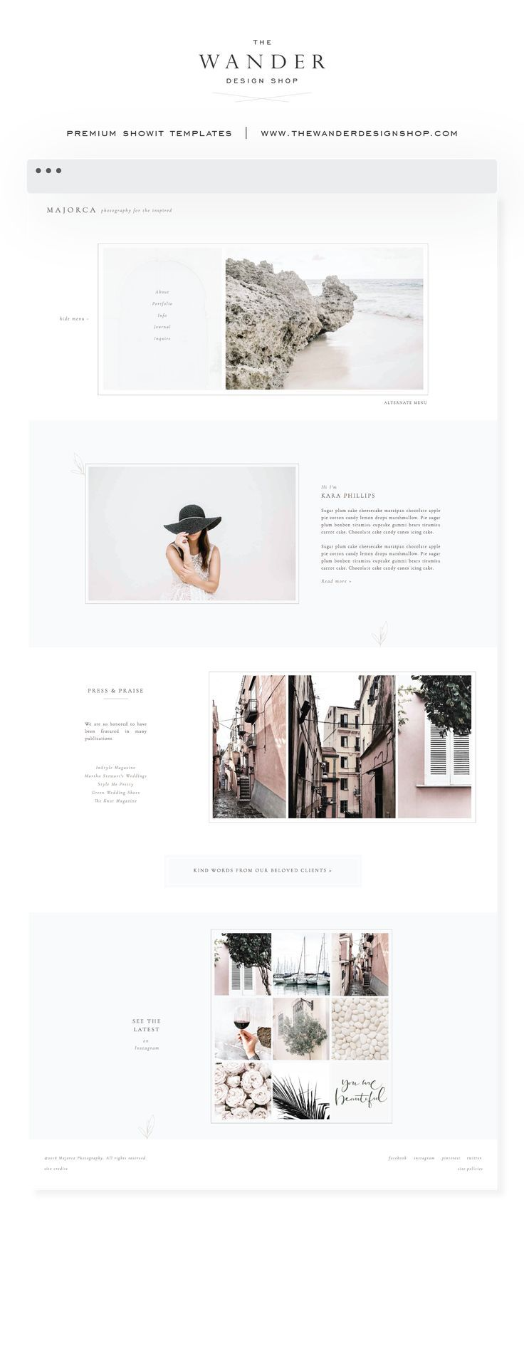 New showit website templates are available at the wander design shop