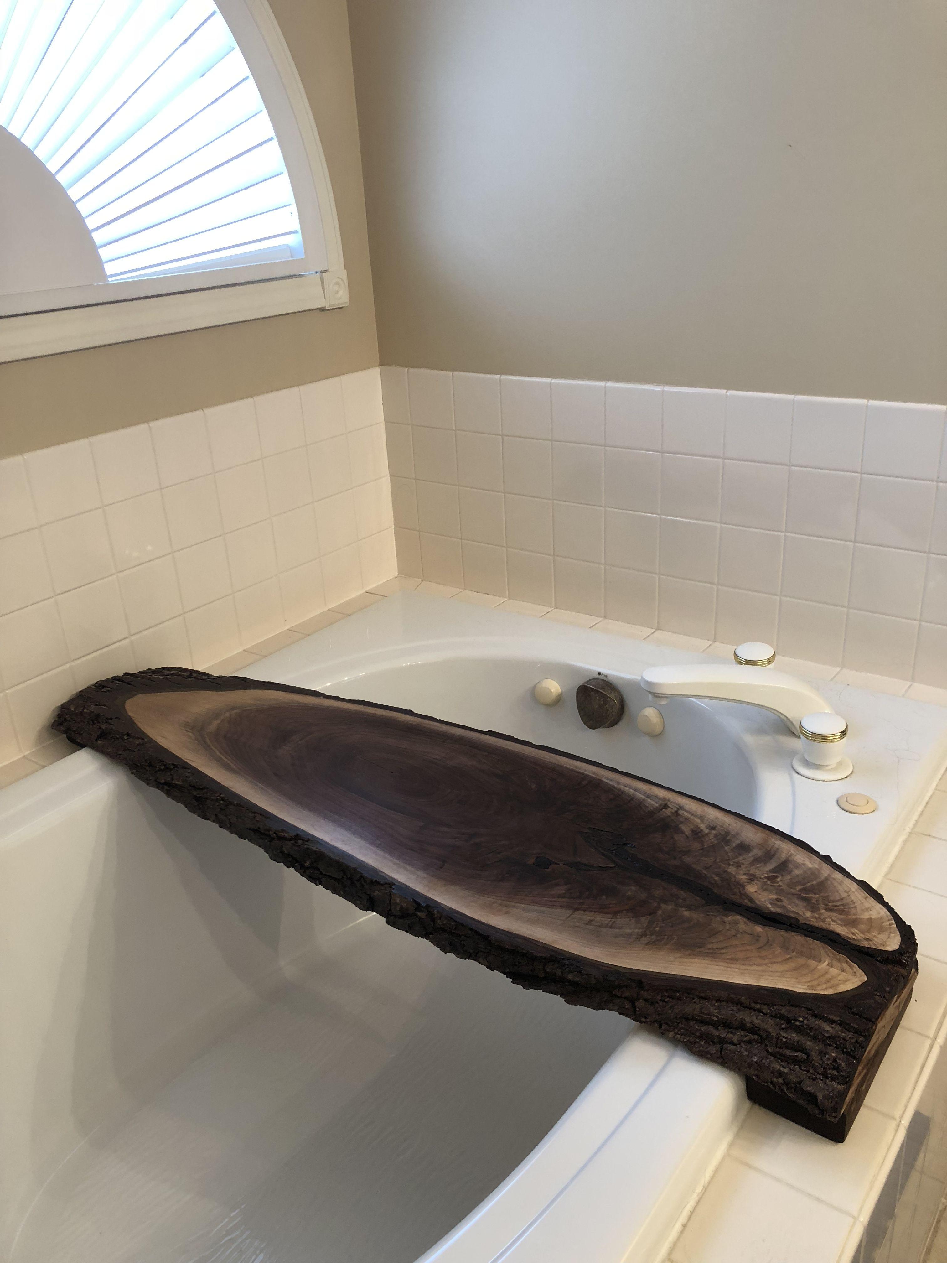 Bath tub shelf caddy made by my dear husband. Built from a slab of ...