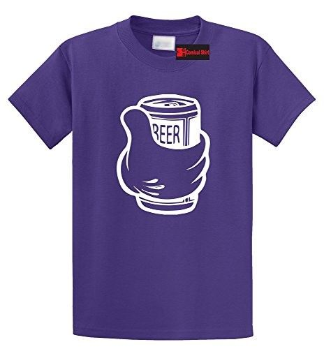 Comical Shirt Men's Thumbs Up Beer T Shirt Cute Beer Lover Party Tee Purple 5XL, Size: XXXXX-Large