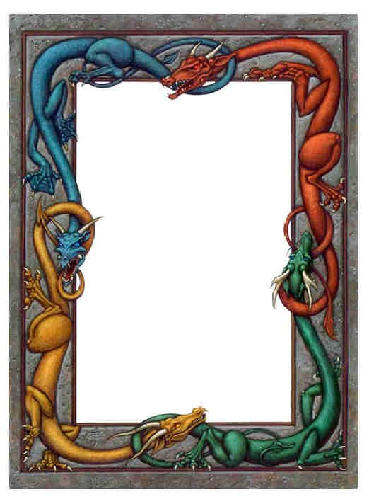 Colored) Dragon Frame | *** B O S *** Blanks | Pinterest | Dragon ...