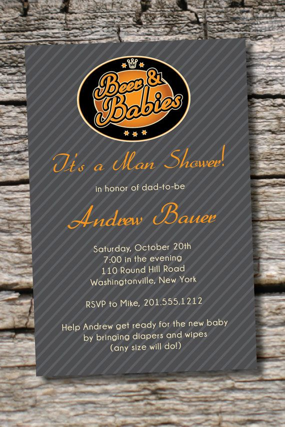 baby shower invitation wording for bringing diapers%0A Beer and diapers     man shower invitations