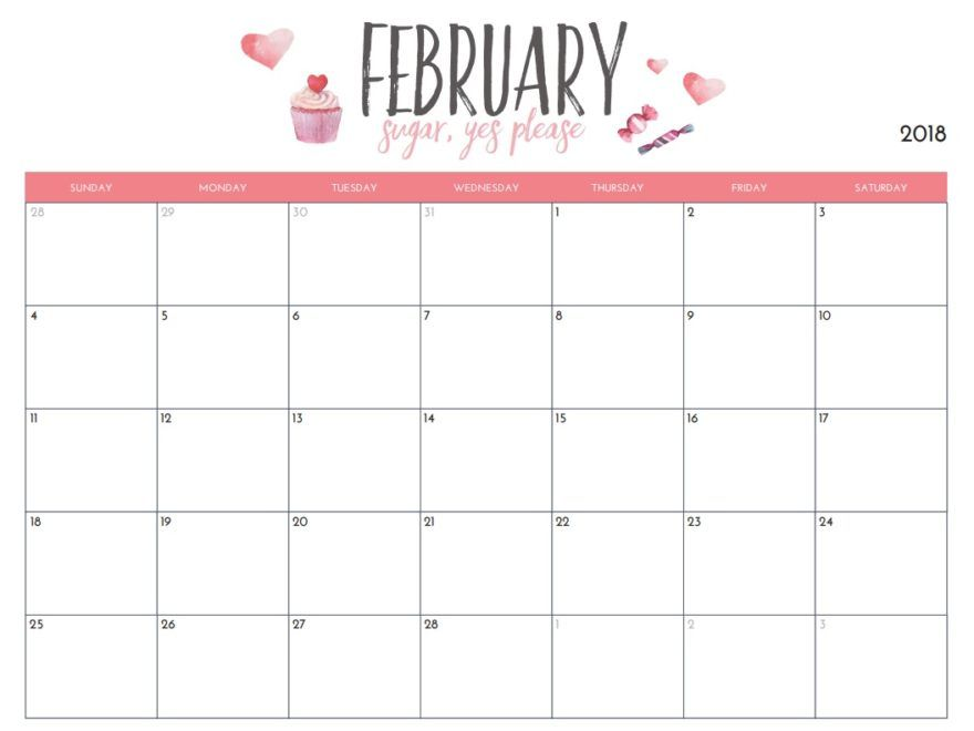February 2018 Blank Wall Calendar Template Calendar Pinterest - office calendar template