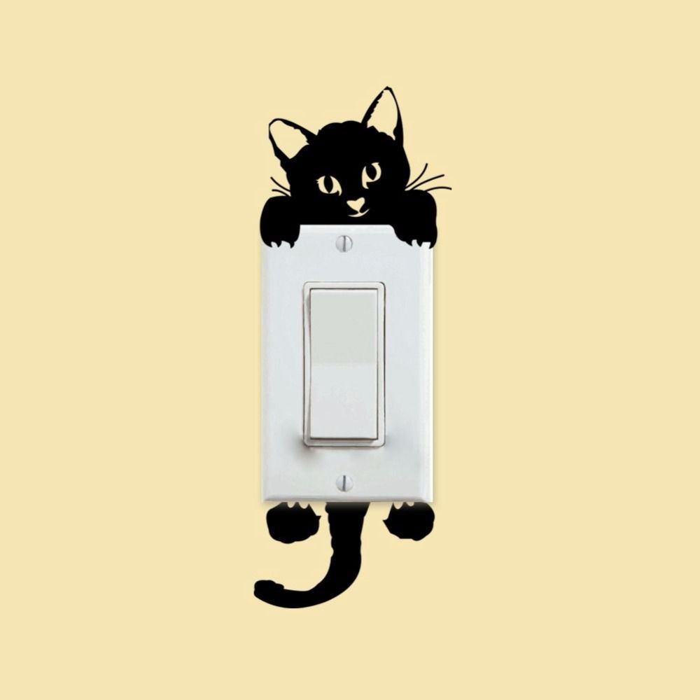 Find More Wall Stickers Information about Black Cute Cat Switch ...