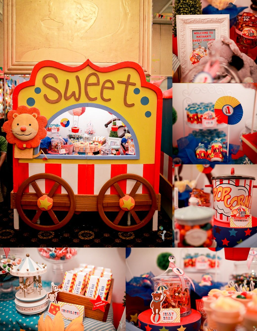sweet corner.. 1st birthday party, with circus themes.. photo